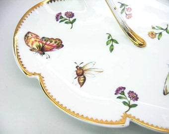 Leaf Serving Plate. Handled Nature Lover Candy Dish w/ Butterflies, Insects & Flowers. Gold Trim. Godinger Porcelain. Vintage Fine Dining