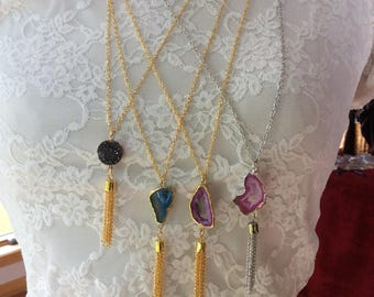 Druzy long gold necklace with Tassle,  tassle necklace, druzy necklace, tassle and druzy necklace