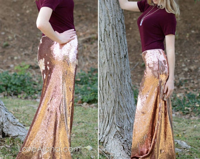 Free Shipping! New! RoseGold Flip Sequin Matte/Shiny Sequin Maxi - Gorgeous high quality sequins- Long sequined skirt (S,M,L,XL) runs big.