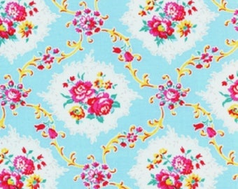 1 Yard Dance With Me KAYLA Rose Medallions Floral Shabby Chic J Paganelli JP26 Teal Flowers Free Spirit Pink Aqua Floral Feminine Fabric