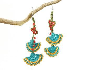Crochet Earrings- Handmade Turquoise Orange Crochet Floral Dangle Earrings, Ethnic Earrings, Oya Earrings, Beaded Earrings, Bohemian Jewelry
