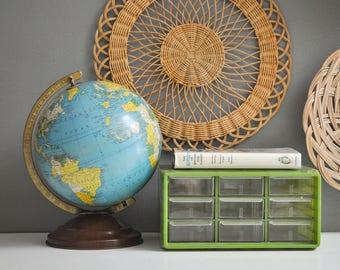Vintage Avocado Green Storage Container with Drawers - Hard Plastic Vintage Storage