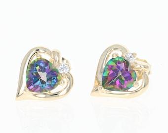 Mystic Topaz Heart Earrings - 10k Yellow Gold Pierced Studs 585 1.91ctw U1252