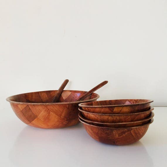 Vintage Bamboo Salad Bowl Set Woven Pattern Large Salad Bowl Set of (7) Small Bowls Serving Utensils Original Box and Packaging