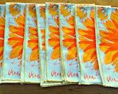 7 Vintage Vera Napkins Bright Orange Flowers 1970's
