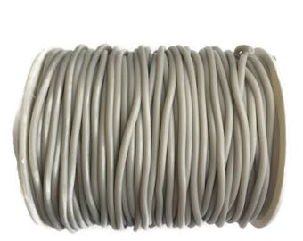 1m Rubber Cord 2mm, Light Grey PVC Cord, Hollow Round Synthetic Rubber S 40 233
