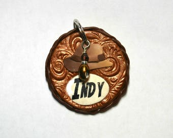 Indiana Jones Style Pet Tag / Dog Tag / Cat Tag, polymer clay