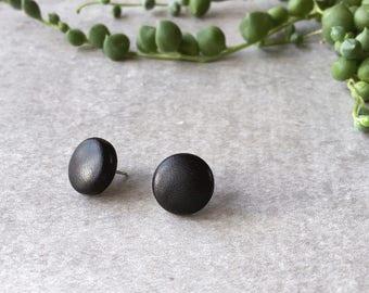 Black faux leather round earrings - leatherette post earrings - biker - Hypoallergenic earrings - handmade - EtsyAU