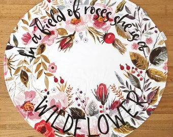 Round Baby Play Mat - Tummy time mat - ln a field of roses she is a Wildflower - Round play mat - Roundie - Floral