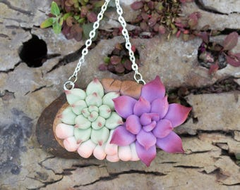 White Green Purple Succulent Pendant Wooden Basis Medallion Succulent Necklace Wedding Bridal Birthday Gifts