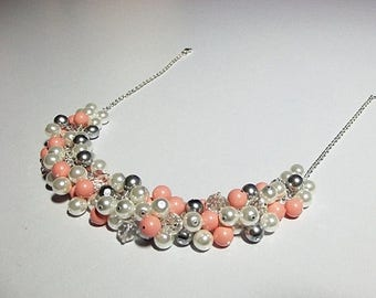 30% OFF SALE thru Mon Pink Coral Gray Pearl and Crystal Cluster Necklace, Bridesmaid Wedding Mothers Day Mom Sister Grandmother Birthday Wif