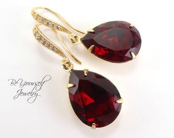Red Bridal Earrings Garnet Teardrop Bride Earrings Ruby Wedding Jewelry Swarovski Crystal Siam Wedding Earring Gold Dark Red Bridesmaid Gift