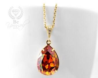 Burnt Orange Bridal Necklace Gold Bride Necklace Wedding Jewelry Swarovski Crystal Copper Necklace Amber Teardrop Pendant Bridesmaid Gift