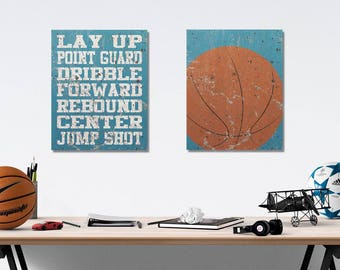 Basketball Vintage Weathered Wall Art Canvas Prints