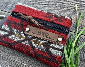 Venture Carabiner Coin Case // Red Pendleton Wool BrownLeather // Rosebud Originals