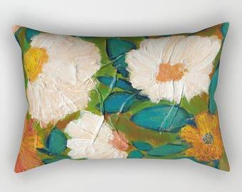 Evening Bloom Lumbar Pillow, Rectangular, White Teal Blue Olive Green Burnt Orange Rust Peach Yellow, floral, Expressive artwork print