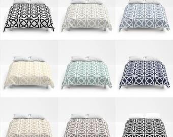 Geometric Trellis Print Duvet Cover or Comforter, Bed Cover, Bedspread, 9 Pastel Color Options, Modern Bedding, Minimalist, Black White Grey