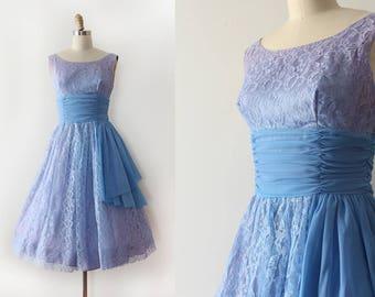 vintage 1950s dress // 50s 60s blue purple lace party prom dress