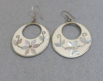 Vintage Alpaca White Enamel and Mother of Pearl Pierced Earrings