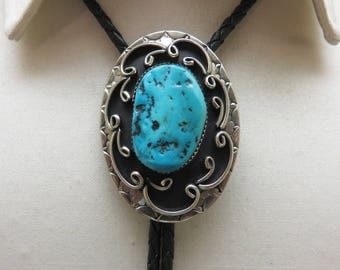 Sterling, Turquoise Modern Native American Bolo Tie