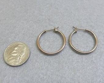 Sterling Hoop Pierced Earrings, 1 Inch High, Vintage