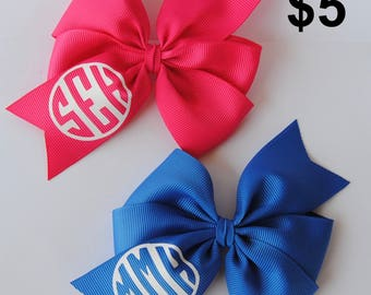 Monogram hair bow, custom hair bow, hair bow with initials, personalized hair bow, girl birthday gift, girls hair bow, back to school bow