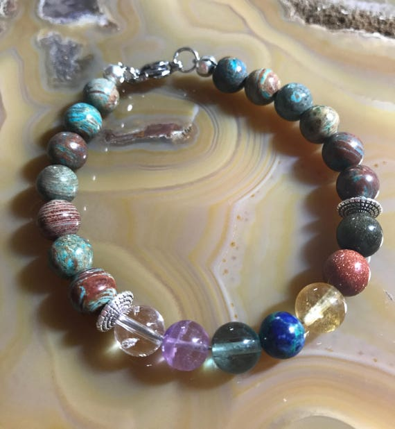 Blue and Brown Striped Jasper Chakra Bracelet