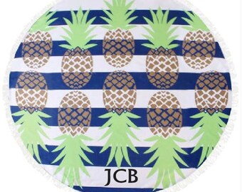 Nautical Lines & Pineapple Beach Blanket, Custom Monogram Round Cotton, Bridal Shower Gift, Honeymoon Beach Blanket