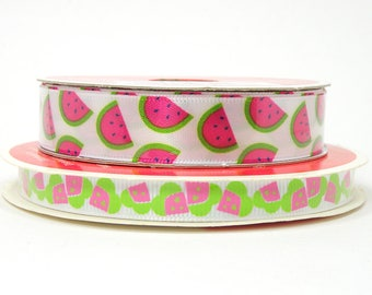 Watermelon Ribbon with White Background, White Ribbon with Watermelon Slices, 5/8 inch or 3/8 inch, 3 yards