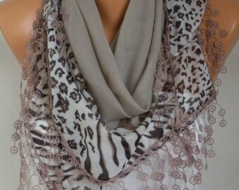 Beige Scarf Shawl  -  Cotton Weddings Scarves -  Cowl  with  Lace Edgeö christmas gift