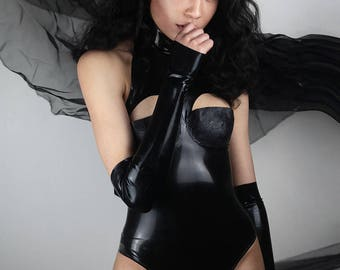 High neck latex bodysuit