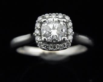 Estate Diamond 14k White Gold Halo Engagement Promise Ring Bridal Wedding LAYAWAY available