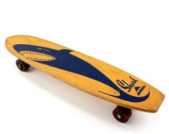 Vintage Nash Shark Skateboard in Wood with Dark Blue Shark (c.1950s) - Collectible, Unique Shelf, Toy Collectible