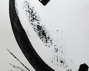 Composition 1 Black Ink Brush Painting White Paper Abstract Expressionist Minimalist Minimalism Free Spirit Balance Movement