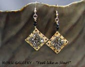 """Earrings  - Raw Brass Filigree Moroccan Tile, Rocks Crystal Iron-on, 14k Gold Filled Ear Wires - 2 1/2"""" - Hand Crafted Artisan Jewelry"""