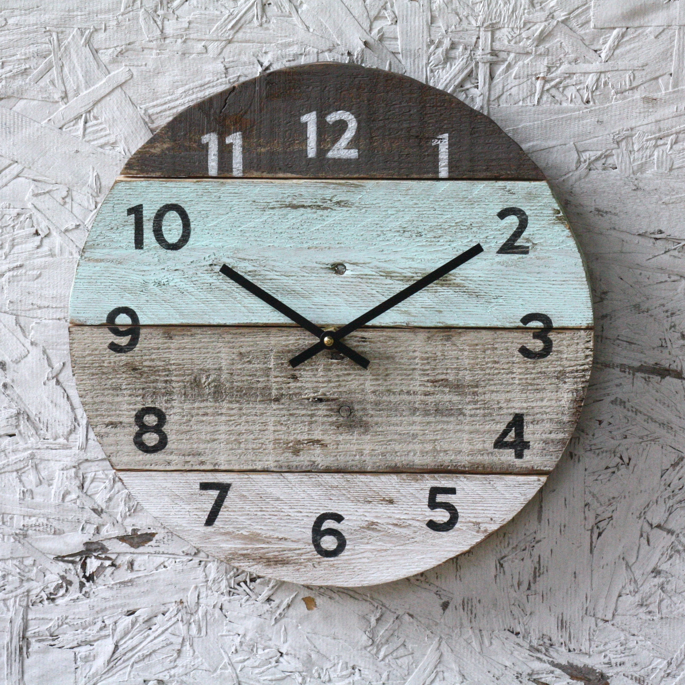 Beach clock round reclaimed wood wall clock pale seafoam request a custom order and have something made just for you amipublicfo Image collections