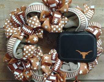 UT Longhorn Wreath-UT Wreath-Longhorn-UT Longhorns-Graduation Wreath-School Decor-Graduation Gift-Wreath-Home Decor-Party Wreath-Party Decor