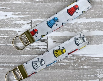 Dalek Wristlet Key Fob - Doctor Who Daleks Key Fob / Grey Geekery Keychain / Doctor Who Daleks Fabric / Cotton Key Fob / Geek Girl Gift