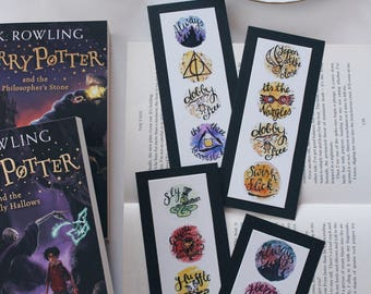 LIMITED Black Harry Potter Bookmarks - Book lovers - Fandom merch - unique bookmark - Mini watercolour painting