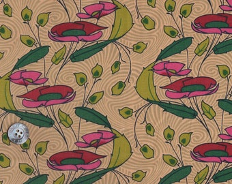 """Vintage Liberty Tana Lawn fabric - 1990s - 16.5"""" wide x 11"""" (43cm x 31cm) - pink/beige background"""