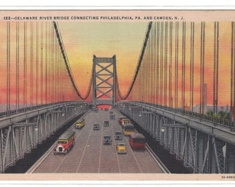 "New Jersey, Vintage Postcard, ""Delaware River Bridge Connecting Philadelphia Pa., and Camden, N. J.,"" 1940s #1086."