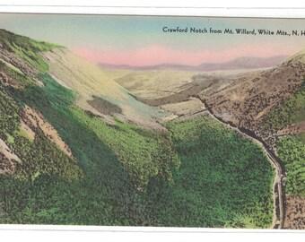 "New Hampshire, Vintage Postcard, ""Crawford Notch from Mt. Willard, White Mts., N.H.,""  around 1920, #1117."