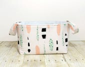 Fabric Storage Basket - Diaper Caddy - Feathers - Toy Storage