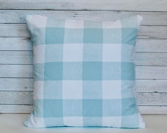 Farmhouse pillow.Buffalo check pillow. Light blue gingham pillow cover. Blue cushion cover. Farmhouse decor. 20x20 cushion cover.