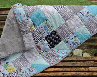 Outdoor Adventure Baby Quilt  ~ Jeep Baby Boy Quilt ~ Camping Baby Quilt