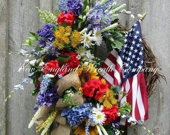 ON SALE Patriotic Wreath, 4th of July Wreath, Memorial Day Wreath, Americana Wreath, Sunflower Wreath, Elegant Patriotic Wreath, XL Flag Wre