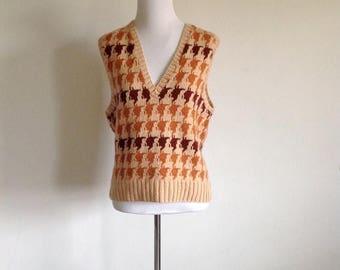 ON SALE Butterscotch Houndstooth Knit Vest - Size Medium