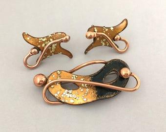 MATISSE Copper Enamel Brooch Set - Copper Mask Brooch Earrings Set - Matisse Demi Parure - Matisse Earrings Set - Copper Jewelry Set
