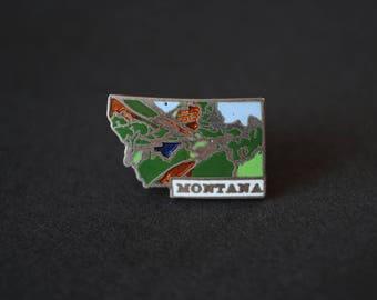 Vintage Montana State Landscape Enamel Cloisonné Lapel Pin