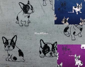 Black bulldog, 1/2 yard, cotton linen blended fabric